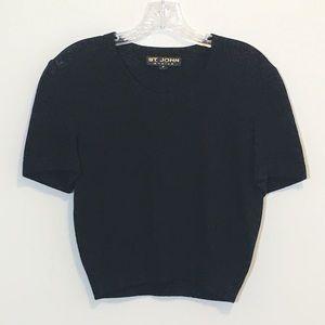 St. John Basics Black Short Sleeve Knit Sweater